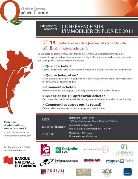 Chambre de Commerce Québec-Floride: Conférence sur l'immobilier en Floride