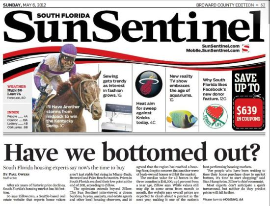 SunSentinel Bottom Out - Immobilier Floride